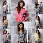 """Ladies Jumper Size 8/10/12 Women's Top 3/4 Sleeves Multicolour Blouse""""You and Me"""