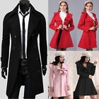 FREE SHIPPING Men Women Jacket PEACOAT D-Breasted Trench Coats Winter Warm SALE~