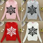 Womens Winter Pullover Sweatshirts Snowflake Print Cotton Tops HOT Free Shipping