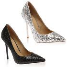 New Ladies Pointy Toe Womens Slim Stiletto Glitter Heel Sandals Shoes Size 3-8