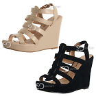 Womens Wedge Strappy Ladies Heel Peep Toe Elasticated Platform Sandal Shoes