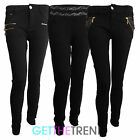 Womens Black Diamante Skinny Fit Jeggings Jeans Ladies Skinny Leggings Jean