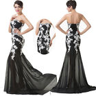 Mermaid Applique Womens Evening Formal Prom Pageant Cocktail Dress Wedding Gown