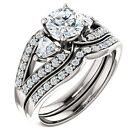 6mm Forever Brilliant Moissanite 14K White Gold Engagement Ring Set Triangle