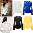 New Fashion Sexy Women's Chiffon Tops Lace Long Sleeve T-Shirt Casual Blouse S-L