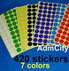420 Inventory Code Retail 15mm Round Color Cording Labels Sticker Dots Adhensive