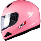 Tuzo Mach 1 Plain Pink Motorcycle Helmet Full Face Scooter Crash Motorbike