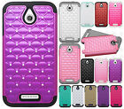 For HTC Desire 510 HYBRID IMPACT Dazzling Diamond Case Phone Cover Accessory