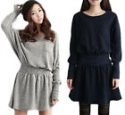New Women's Woolen Sweater Dress Casual Long Sleeve Round-neck Knitted Elegant