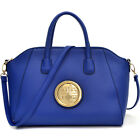 Women Leather Handbag Gold Tone Faux Buffalo Tote Bag Flat Bottom Shoulder Bag