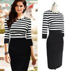 Women Long Sleeve Striped Bodycon Slim Casual Party Evening OL Pencil Dress S M