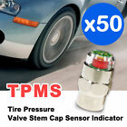 TPMS Car Bike Tire Pressure Valve Stem Cap Sensor Indicator 1.8-5.6BAR x50 Piece