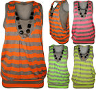 New Womens Neon Necklace Stripe Print Ladies Sleeveless Fluorescent Top 8 - 14