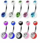 Surgical Steel UV Ball With Crystal Gem Navel Belly Bar size from 6mm to 16mm