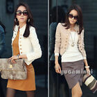 Korean Women Long Sleeve Casual Button Short Jacket Coat Blazer Cardigan Suits