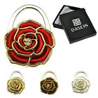 Foldable Gold Tone Accent Rose Flower Bag Purse Hanger Table Hook