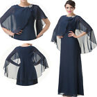 Charming~ Chiffon Cape Style Evening Formal Prom Dress Mother of the Bride LONG
