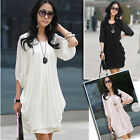 Korean Fashion Women Chiffon Casual Short Sleeve Cocktail Party Mini Dress Tunic