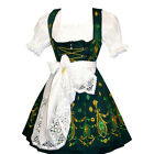 DIRNDL Trachten Oktoberfest Dress German 3 pc Short EMBROIDERED Swing Waitress