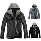 Men 100% Denim Vintage,Classic, Black ,Dark Grey ,Jean Blue, S,M,L,XL ,XXL,