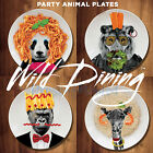 Wild Dining - PANDA LION GORILLA GIRAFFE Ceramic Animal Dinner Plates