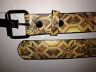 CHROME MENS BELT SIZE 32, 34, 38, 40 BEIGE BELT WITH RELIGIOUS THEME NEW