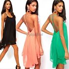 Womens Sexy Chiffon Backless Sling Strap Clubwear Cocktail Party Mini Dress 35DI