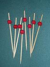 11cm Ruby Red Ball Wooden Skewers Cocktail Sticks  Buffet Canapes & Party Food