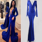 Women Sexy Deep V Neck Backless Ball Gown Prom Evening Cocktail Party Maxi Dress