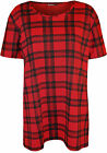 New Plus Size Womens Tartan Check Print Short Sleeve Ladies T-Shirt Top 14 - 28