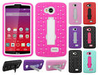 For Virgin Mobile LG Tribute HYBRID IMPACT KICKSTAND Diamond Case +Screen Guard