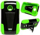 BLACK & NEON GREEN T-Stand Hybrid Cover Case for ZTE Prelude 2 / Whirl 2