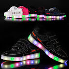 Boys Girls Colorful LED Light Up Sports Baby Velcro Sneakers Kids Dance Shoes