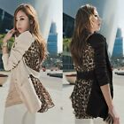 Fashion Women Blazer Leopard Splicing Notched Collar Long Sleeve One Button Suit