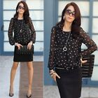 Womens Chiffon Polka Dot Blouse Shirt Floral Print New Print Loose Hot 35DI