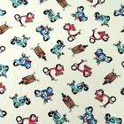 Scooters Mopeds Vespas Flowery Bikes 100% Cotton Fabric