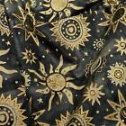 Celestial Batik Metallic Gold & Cream on Charcoal, Suns & Stars Cotton Fabric