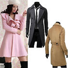 Formal Business Mens Womens Long Coat Trench Coats Jackets Outer Parka Pea Coats