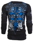 Archaic AFFLICTION Mens THERMAL T-Shirt LOYALTY Cross Wings Biker MMA UFC $58
