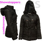 Womens Quilted Jacket Hooded Padded Coat Duffle Size 8-14 New