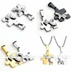 Set Stainless Steel Men Women Crystal Couples Puzzle Pendant Love Necklace Gift