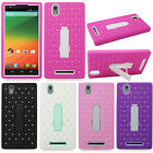For ZTE ZMAX Z970 T-Mobile Symbiosis Bling Heavy Duty Hybrid Stand Case Cover