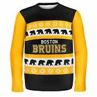 Boston Bruins Ugly Sweater Wordmark One Too Many NHL Christmas Holiday