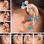 1pc Golden Metal Crystal Leaf/Flower/Star/Teardrop Wrap Cuff Earring No Piercing