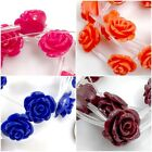 *15x10mm Resin Rose beads 15pcs , Turquoise, Yellow, Purple, Brown, Black, Pick