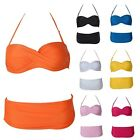 Candy Color Halter Twisted Push-UP Padded Bra Bikini Beachwear Swimsuit S-L