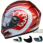 LEOPARD LEO-818 Full Face Motorcycle Motorbike Helmet Red Graphic + Colour Visor