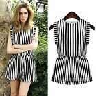 Summer Women Striped Printed Dress Causal Short Pants Jumpsuit Romper Playsuits