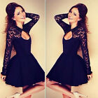 Womens Long Sleeve Sexy Lace Backless Evening Party Bodycon Mini Skater Dress