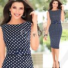 Elegant Women Pinup Belted Polka Dots Cocktail Wear To Work Business Shift Dress